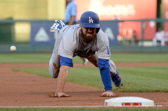Los Angeles Dodgers Scott Van Slyke dives into third during game against the Washington Nationals Wednesday, July 20, 2016 at Nationals Park in Washington,DC. Photo by Jon SooHoo/©Los Angeles Dodgers,LLC 2016