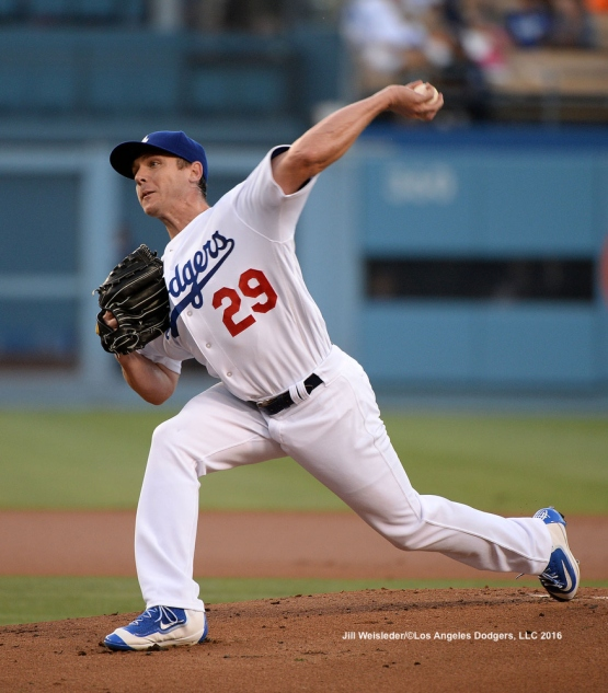 Starting pitcher Scott Kazmir throws on the mound against the Padres. Jill Weisleder/LA Dodgers
