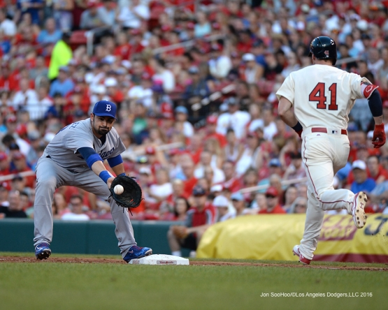 Los Angeles Dodgers Adrian Gonzalez during game against the St. Louis Cardinals at Busch Stadium Saturday, July 23, 2016 in St.Louis, Missouri.  Photo by Jon SooHoo/©Los Angeles Dodgers,LLC 2016
