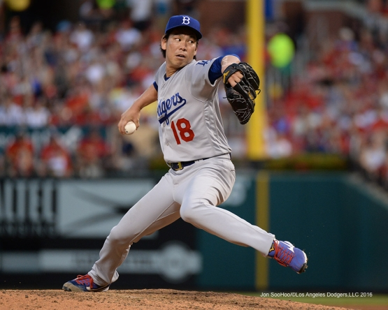 Los Angeles Dodgers Kenta Maeda during game against the St. Louis Cardinals at Busch Stadium Saturday, July 23, 2016 in St.Louis, Missouri.  Photo by Jon SooHoo/©Los Angeles Dodgers,LLC 2016