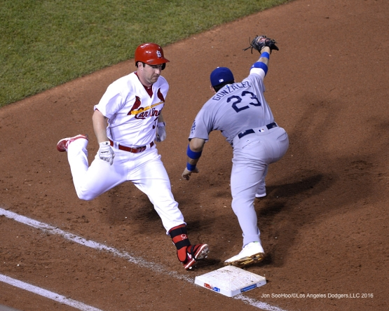 Los Angeles Dodgers Adrian Gonzalez hauls in throw for the out at first during game against the St. Louis Cardinals at Busch Stadium Sunday, July 24, 2016 in St.Louis, Missouri. Photo by Jon SooHoo/©Los Angeles Dodgers,LLC 2016