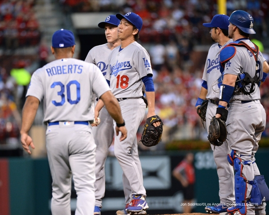 Los Angeles Dodgers Kenta Maeda comes out of game against the St. Louis Cardinals at Busch Stadium Saturday, July 23, 2016 in St.Louis, Missouri.  Photo by Jon SooHoo/©Los Angeles Dodgers,LLC 2016
