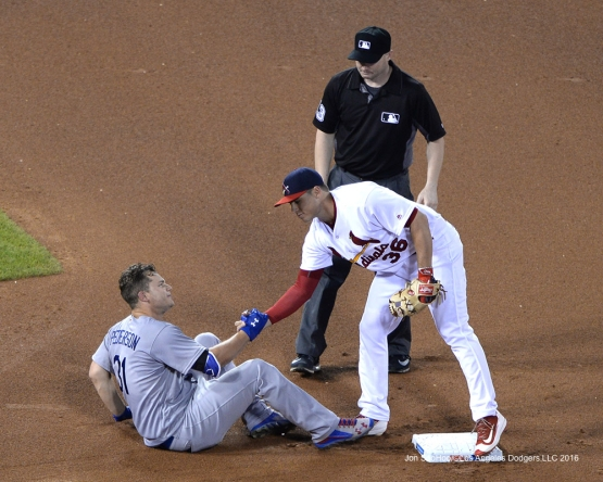 Los Angeles Dodgers Joc Pederson is helped up during game against the St. Louis Cardinals at Busch Stadium Sunday, July 24, 2016 in St.Louis, Missouri. Photo by Jon SooHoo/©Los Angeles Dodgers,LLC 2016