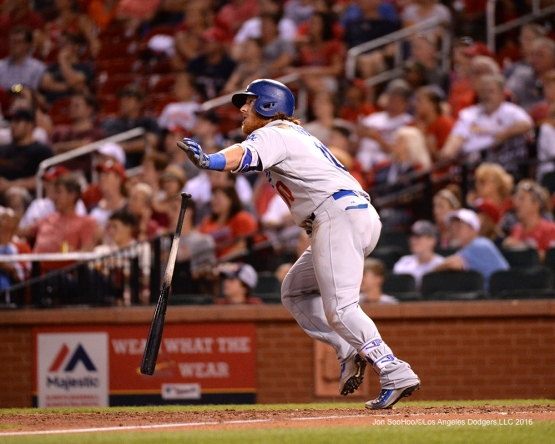 Los Angeles Dodgers Justin Turner homers during game against the St. Louis Cardinals at Busch Stadium Friday, July 22, 2016 in St.Louis, Missouri.  Photo by Jon SooHoo/©Los Angeles Dodgers,LLC 2016