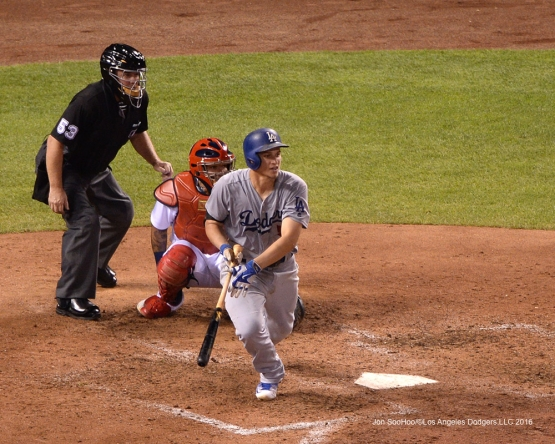Los Angeles Dodgers Corey Seager with another hit during game against the St. Louis Cardinals at Busch Stadium Sunday, July 24, 2016 in St.Louis, Missouri. Photo by Jon SooHoo/©Los Angeles Dodgers,LLC 2016