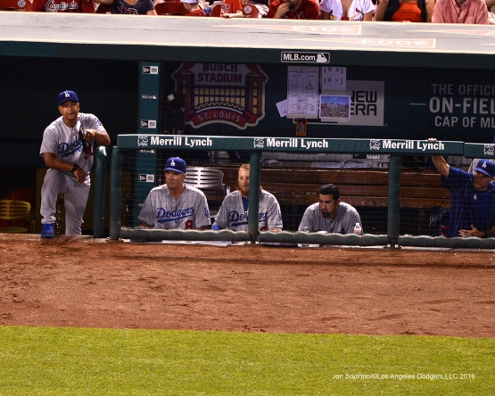 Los Angeles Dodgers Dave Roberts watches the action during game against the St. Louis Cardinals at Busch Stadium Sunday, July 24, 2016 in St.Louis, Missouri. Photo by Jon SooHoo/©Los Angeles Dodgers,LLC 2016