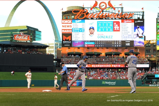 Los Angeles Dodgers Adrian Gonzalez homers during game against the St. Louis Cardinals at Busch Stadium Saturday, July 23, 2016 in St.Louis, Missouri.  Photo by Jon SooHoo/©Los Angeles Dodgers,LLC 2016