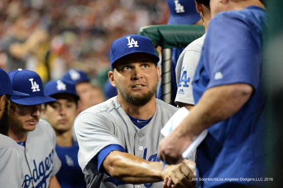 Los Angeles Dodgers Luis Avilan in the dugout during game against the Washington Nationals Wednesday, July 20, 2016 at Nationals Park in Washington,DC. Photo by Jon SooHoo/©Los Angeles Dodgers,LLC 2016