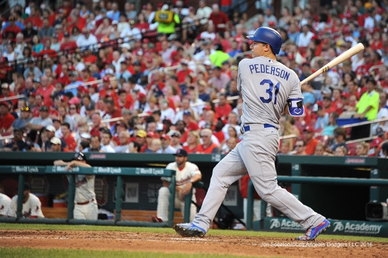 Los Angeles Dodgers Joc Pederson during game against the St. Louis Cardinals at Busch Stadium Saturday, July 23, 2016 in St.Louis, Missouri.  Photo by Jon SooHoo/©Los Angeles Dodgers,LLC 2016