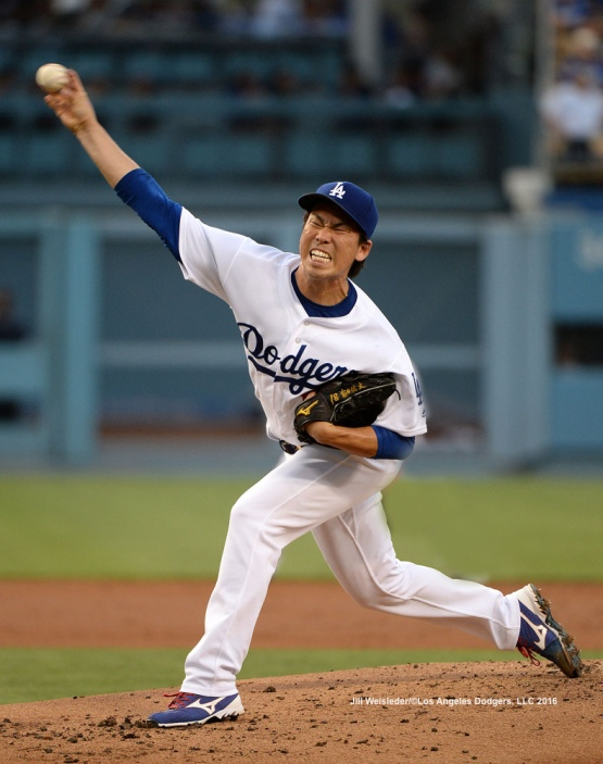 Starting pitcher Kenta Maeda throws on the mound against the Arizona Diamondbacks. Jill Weisleder/Dodgers