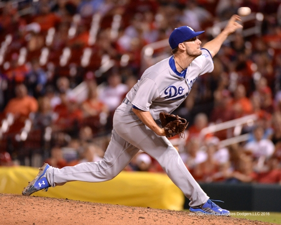 Los Angeles Dodgers Grant Dayton during game against the St. Louis Cardinals at Busch Stadium Friday, July 22, 2016 in St.Louis, Missouri.  Photo by Jon SooHoo/©Los Angeles Dodgers,LLC 2016