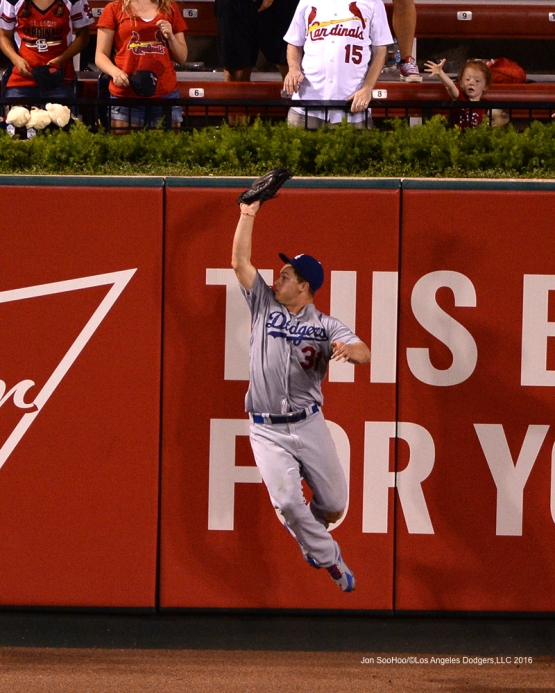 Los Angeles Dodgers Joc Pederson runs down fly ball during game against the St. Louis Cardinals at Busch Stadium Sunday, July 24, 2016 in St.Louis, Missouri. Photo by Jon SooHoo/©Los Angeles Dodgers,LLC 2016