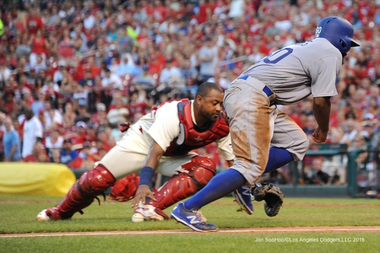 Los Angeles Dodgers Andrew Toles scores during game against the St. Louis Cardinals at Busch Stadium Saturday, July 23, 2016 in St.Louis, Missouri.  Photo by Jon SooHoo/©Los Angeles Dodgers,LLC 2016