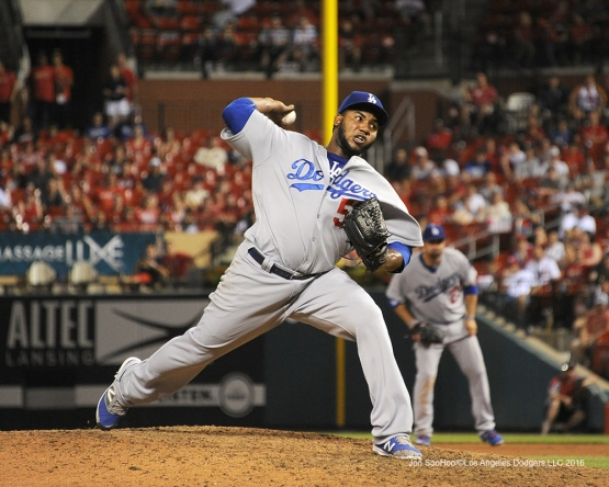 Los Angeles Dodgers Pedro Baez during game against the St. Louis Cardinals at Busch Stadium Friday, July 22, 2016 in St.Louis, Missouri.  Photo by Jon SooHoo/©Los Angeles Dodgers,LLC 2016