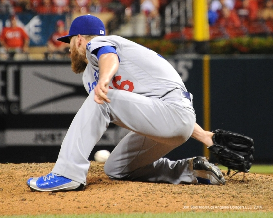 Los Angeles Dodgers J.P.Howell just misses ball during game against the St. Louis Cardinals at Busch Stadium Friday, July 22, 2016 in St.Louis, Missouri.  Photo by Jon SooHoo/©Los Angeles Dodgers,LLC 2016