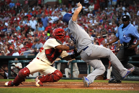 Los Angeles Dodgers Joc Pederson is out during game against the St. Louis Cardinals at Busch Stadium Saturday, July 23, 2016 in St.Louis, Missouri.  Photo by Jon SooHoo/©Los Angeles Dodgers,LLC 2016