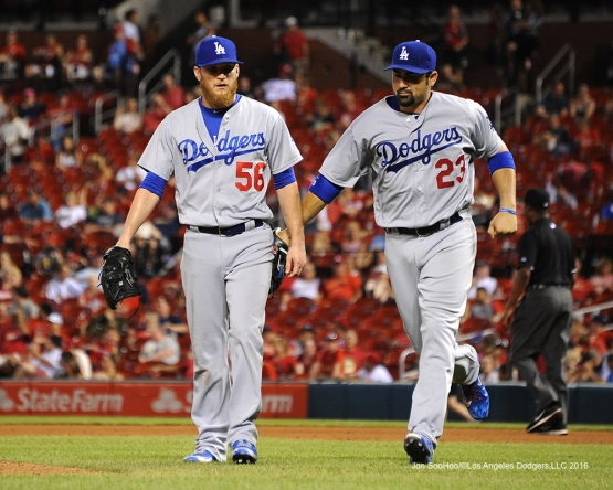 Los Angeles Dodgers J.P.Howell and Adrian Gonzalez during game against the St. Louis Cardinals at Busch Stadium Friday, July 22, 2016 in St.Louis, Missouri.  Photo by Jon SooHoo/©Los Angeles Dodgers,LLC 2016