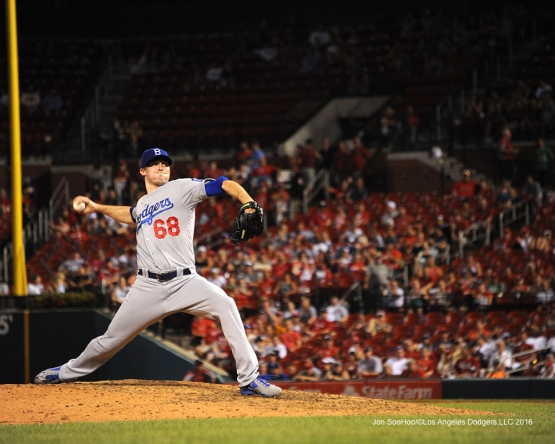 Los Angeles Dodgers Ross Stripling pitches during game against the St. Louis Cardinals at Busch Stadium Saturday, July 23, 2016 in St.Louis, Missouri.  Photo by Jon SooHoo/©Los Angeles Dodgers,LLC 2016