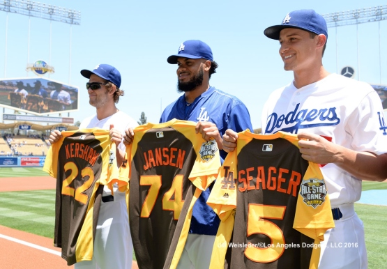 Clayton Kershaw, Kenley Jansen and Corey Seager display their All-Star jersey's. Jill Weisleder/LA Dodgers