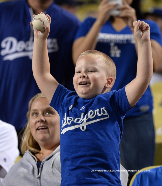 A Dodger fan shows his support for the team. Jill Weisleder/LA Dodgers