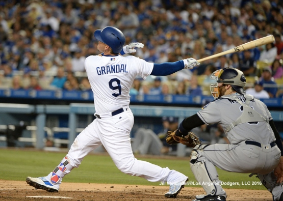 Yasmani Grandal connects for a homerun. Jill Weisleder/LA Dodgers