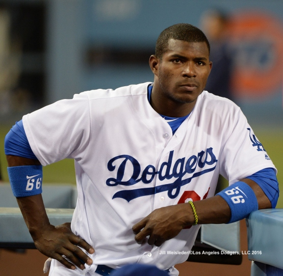 Yasiel Puig looks on from the dugout. Jill Weisleder/LA Dodgers