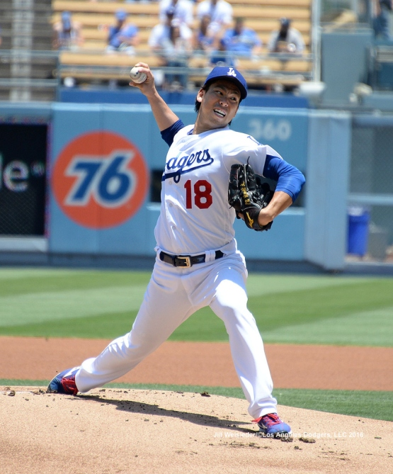 Kenta Maeda throws on the mound agains the Padres. Jill Weisleder/LA Dodgers