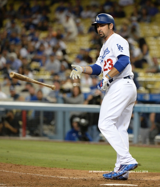 Adrian Gonzalez takes a walk to first base. Jill Weisleder/LA Dodgers