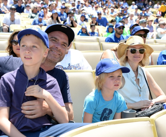 Actors Liev Schreiber and Naomi Watts watch the Dodgers take on the San Diego Padres. Jill Weisleder/LA Dodgers