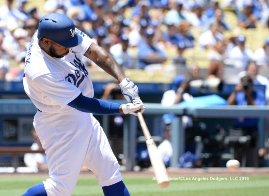 Howie Kendrick connects for a double. Jill Weisleder/LA Dodgers