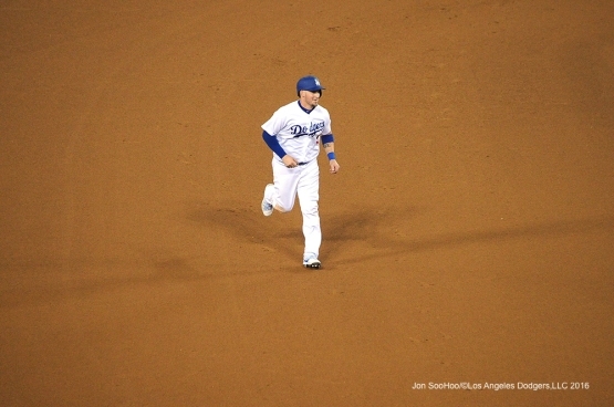 Los Angeles Dodgers Yasmani Grandal during game against the San Diego Friday, July 8, 2016 at Dodger Stadium in Los Angeles, California. Photo by Jon SooHoo/©Los Angeles Dodgers,LLC 2016