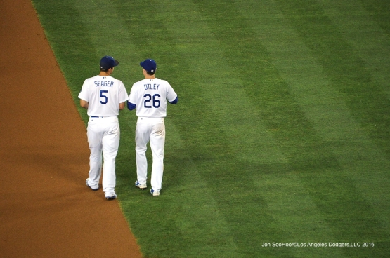 Los Angeles Dodgers Corey Seager and Chase Utley during game against the San Diego Friday, July 8, 2016 at Dodger Stadium in Los Angeles, California. Photo by Jon SooHoo/©Los Angeles Dodgers,LLC 2016