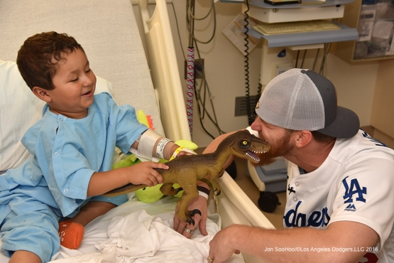 Los Angeles Dodgers A.J.Ellis and J.P.Howell visit Cedars Sinai Medical Center Wednesday, August 24, 2016. Photo by Jon SooHoo