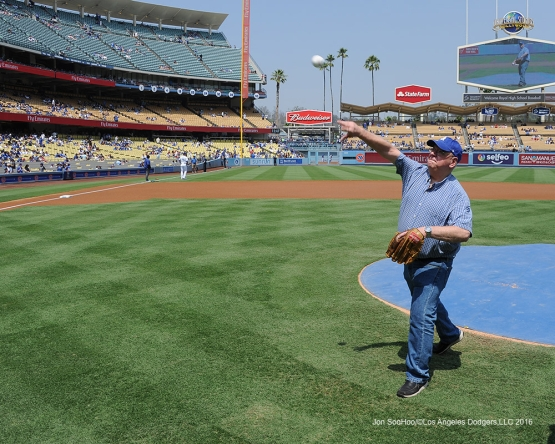 Great Los Angeles Dodger fan throws out the first pitch prior to game against the Chicago Cubs Saturday, August 27 2016 at Dodger Stadium in Los Angeles,California. Photo by Jon SooHoo/©Los Angeles Dodgers,LLC 2016