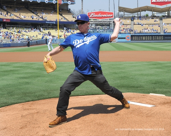 Terminator scary guy Robert Patrick throws out the first pitch before Los Angeles Dodgers game against the Chicago Cubs Saturday, August 27 2016 at Dodger Stadium in Los Angeles,California. Photo by Jon SooHoo/©Los Angeles Dodgers,LLC 2016
