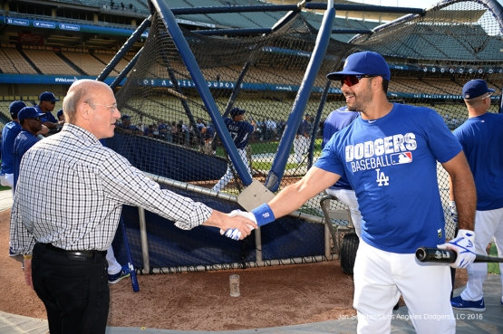Los Angeles Dodgers Stan Kasten and Andre Ethier prior to game against the San Francisco Giants Wednesday, August 24, 2016 at Dodger Stadium in Los Angeles,California. Photo by Jon SooHoo/©Los Angeles Dodgers,LLC 2016
