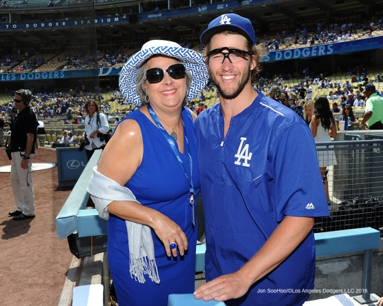 Sherri Patton and Clayton Kershaw prior to game against the Chicago Cubs Saturday, August 27 2016 at Dodger Stadium in Los Angeles,California. Photo by Jon SooHoo/©Los Angeles Dodgers,LLC 2016