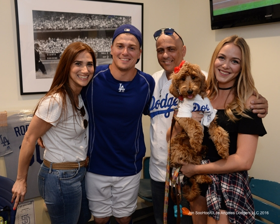 Kike Hernandez is surprised by his parents prior to game against the San Francisco Giants Wednesday, August 24, 2016 at Dodger Stadium in Los Angeles,California. Photo by Jon SooHoo/©Los Angeles Dodgers,LLC 2016
