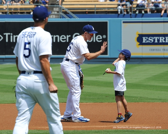 Chase Utley high fives prior to game against the Chicago Cubs Saturday, August 27 2016 at Dodger Stadium in Los Angeles,California. Photo by Jon SooHoo/©Los Angeles Dodgers,LLC 2016