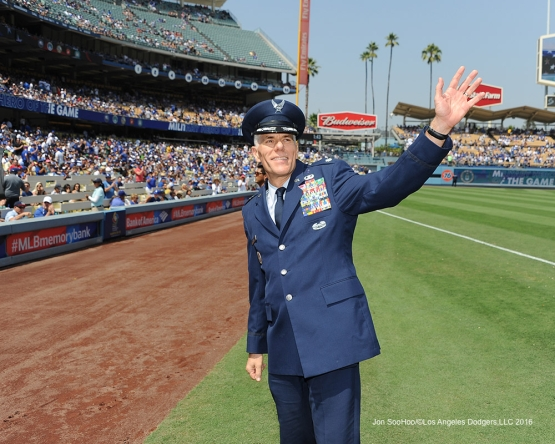 Los Angeles Dodgers Military Hero of the game U.S. Air Force Lt. Col. Ron Prosise is honored during game against the Chicago Cubs Saturday, August 27 2016 at Dodger Stadium in Los Angeles,California. Photo by Jon SooHoo/©Los Angeles Dodgers,LLC 2016