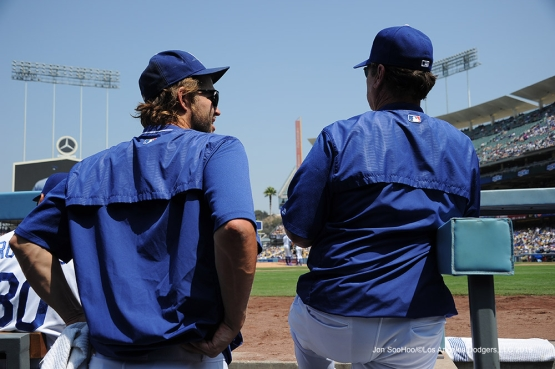 Los Angeles Dodgers Clayton Kershaw and Rick Honeycutt during game against the Chicago Cubs Saturday, August 27 2016 at Dodger Stadium in Los Angeles,California. Photo by Jon SooHoo/©Los Angeles Dodgers,LLC 2016
