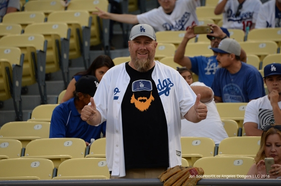Great Los Angeles Dodger fans during game against the San Francisco Giants Wednesday, August 24, 2016 at Dodger Stadium in Los Angeles,California. Photo by Jon SooHoo/©Los Angeles Dodgers,LLC 2016