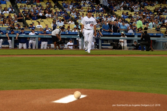 Los Angeles Dodgers Rich Hill takes the field during game against the San Francisco Giants Wednesday, August 24, 2016 at Dodger Stadium in Los Angeles,California. Photo by Jon SooHoo/©Los Angeles Dodgers,LLC 2016