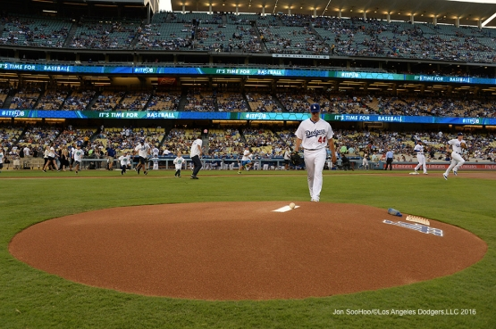 Rich Hill takes the mound during game against the San Francisco Giants Wednesday, August 24, 2016 at Dodger Stadium in Los Angeles,California. Photo by Jon SooHoo/©Los Angeles Dodgers,LLC 2016
