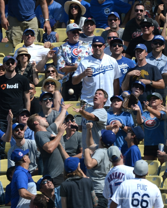 Great Los Angeles Dodgers fans during game against the Chicago Cubs Saturday, August 27 2016 at Dodger Stadium in Los Angeles,California. Photo by Jon SooHoo/©Los Angeles Dodgers,LLC 2016