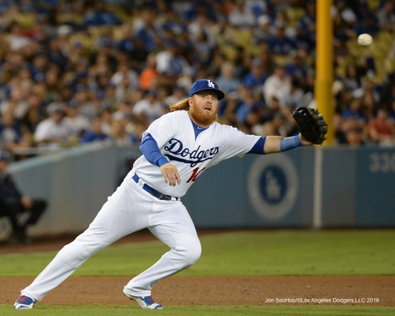 Justin Turner during game against the San Francisco Giants Wednesday, August 24, 2016 at Dodger Stadium in Los Angeles,California. Photo by Jon SooHoo/©Los Angeles Dodgers,LLC 2016