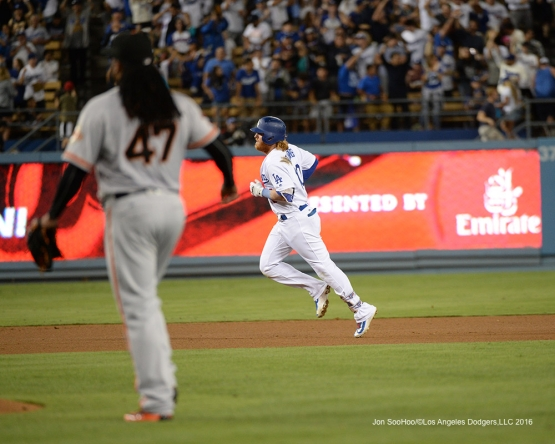 Justin Turner hits a solo home run against the San Francisco Giants Wednesday, August 24, 2016 at Dodger Stadium in Los Angeles,California. Photo by Jon SooHoo/©Los Angeles Dodgers,LLC 2016