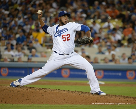 Pedro Baez during game against the San Francisco Giants Wednesday, August 24, 2016 at Dodger Stadium in Los Angeles,California. Photo by Jon SooHoo/©Los Angeles Dodgers,LLC 2016