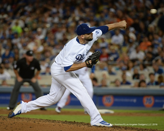 Adam Liberatore during game against the San Francisco Giants Wednesday, August 24, 2016 at Dodger Stadium in Los Angeles,California. Photo by Jon SooHoo/©Los Angeles Dodgers,LLC 2016