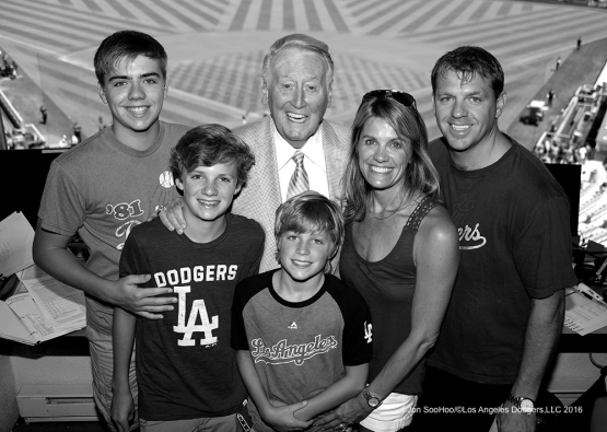 The Boehly family with Vin Scully prior to game against the Chicago Cubs Sunday, August 28, 2016 at Dodger Stadium in Los Angeles,California. Photo by Jon SooHoo/©Los Angeles Dodgers,LLC 2016